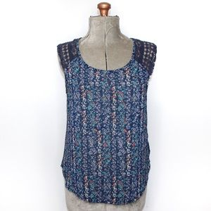 🎀3/$30 Maurices Blue Floral Sheer Blouse Large